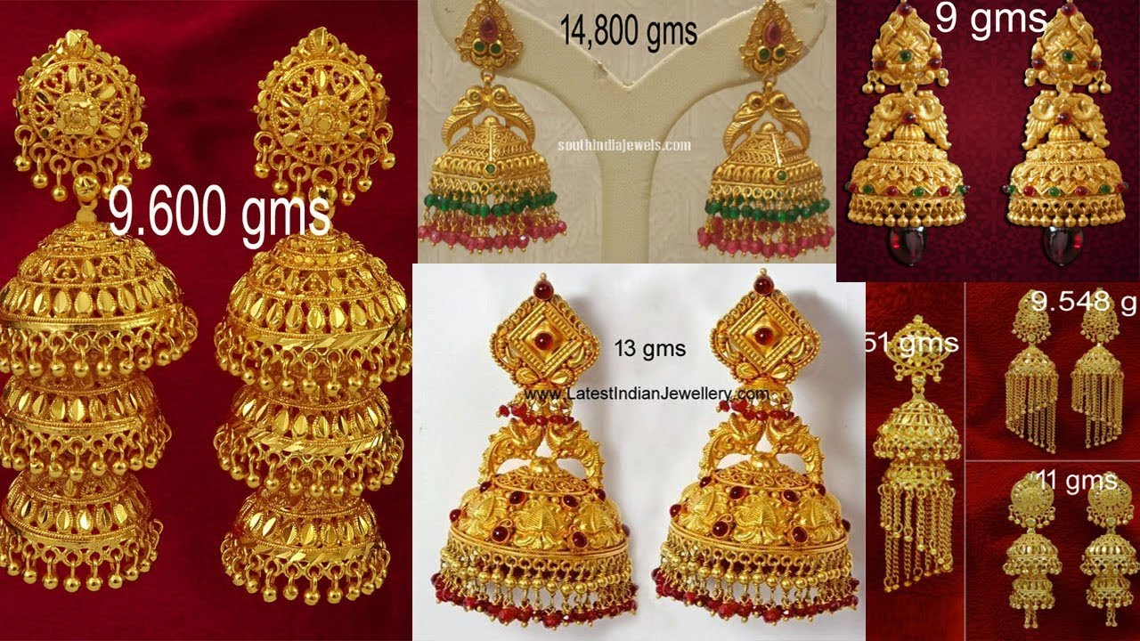 Latest Gold Jhumka Designs With Weight Earrings For Women S