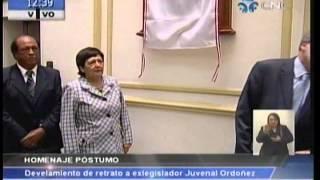Homenaje póstumo a Juvenal Ordoñez: Develamiento de retrato