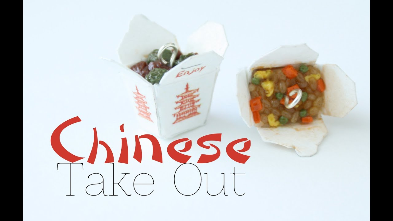 Chinese Take Out Box Charms Polymer Clay Food Jewelry