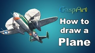 """How to Draw a B-25G """"Shark Mouth"""" Fighter Plane 