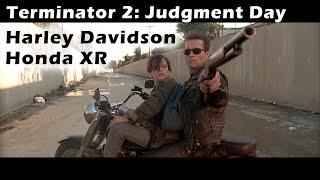 Terminator 2 - Motorcycle Scene. Arnold Schwarzenegger on Harley Davidson, John Connor on Honda XR.
