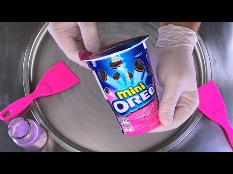 Ice Cream Rolls | Pink mini Strawberry Oreo Cookies rolled Ice Cream Roll with Chocolate - recipe