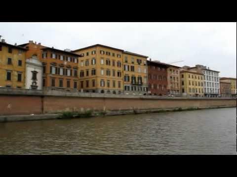 Pisa, Italy - sailing down the main river coming into Pisa