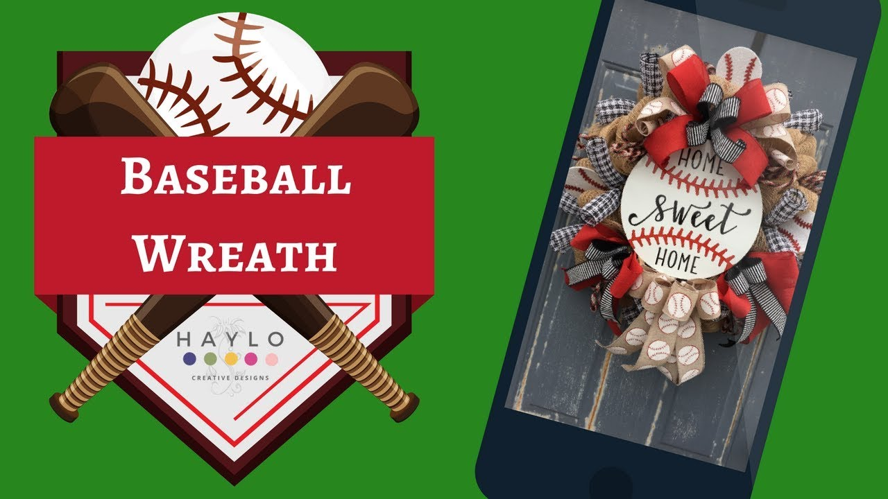 Baseball Wreath Baseball Pouf Poof Deco Mesh Wreath Tutorial