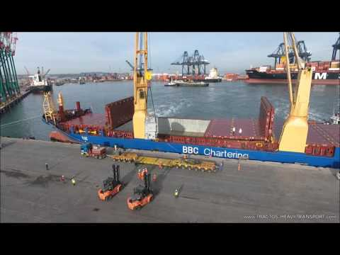 TRACTOS - Trafo offloading over Goldhofer THP-SL modules in San Antonio Port ( CHILE )