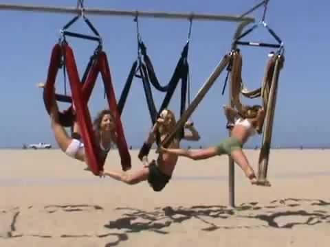 3 Demo Yoga Swing on Venice Beach- Aerial Yoga- Zero Gravity Gym