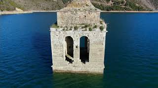 Eglise engloutie Mediano Aragon Drone Laurent Courier