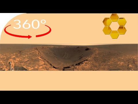 Opportunity rover at the rim of the Endurance crater in 360°