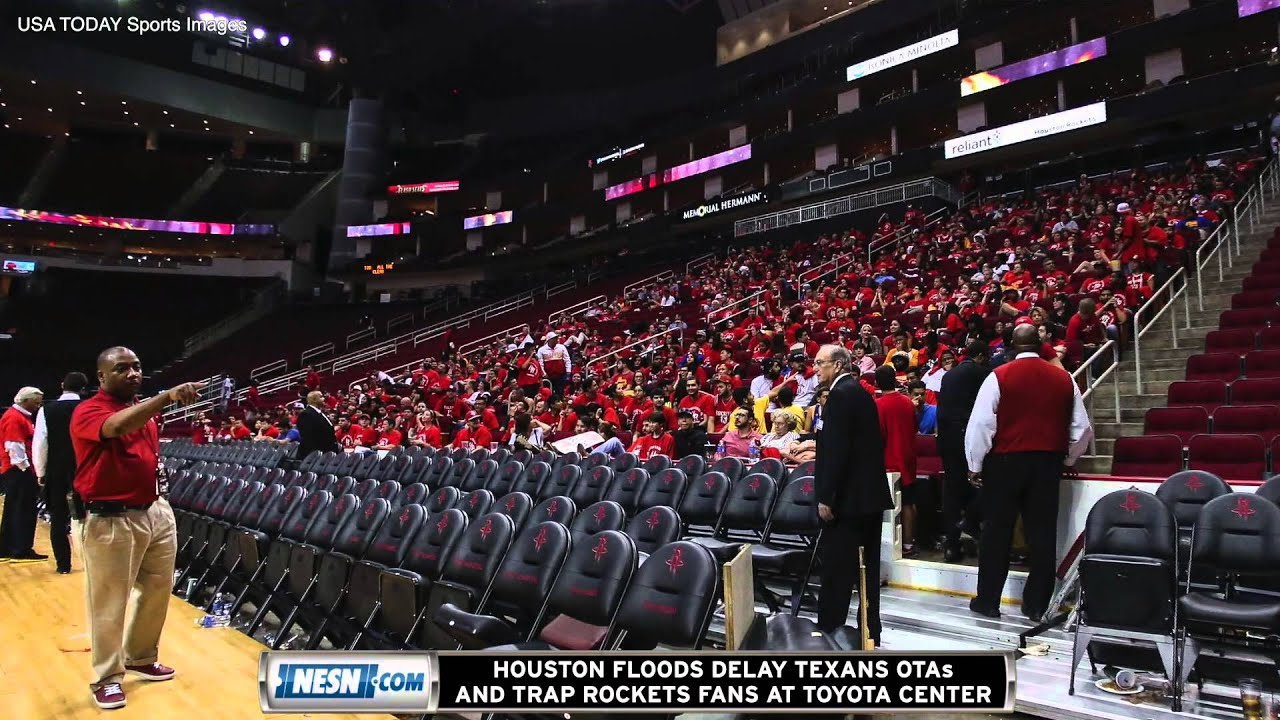 Houston floods trap fans inside toyota center after rockets game texans otas delayed