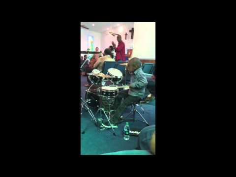 """4 Year Old Drummer, Brayden Wright, Playing """"He Rose"""" by Brent Jones"""