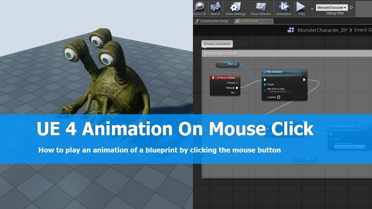Unreal engine play animation on mouse click youtube unreal engine play animation on mouse click malvernweather Images