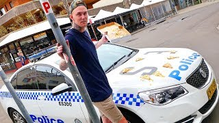THROWING PIZZA ON POLICE CARS (ARRESTED)