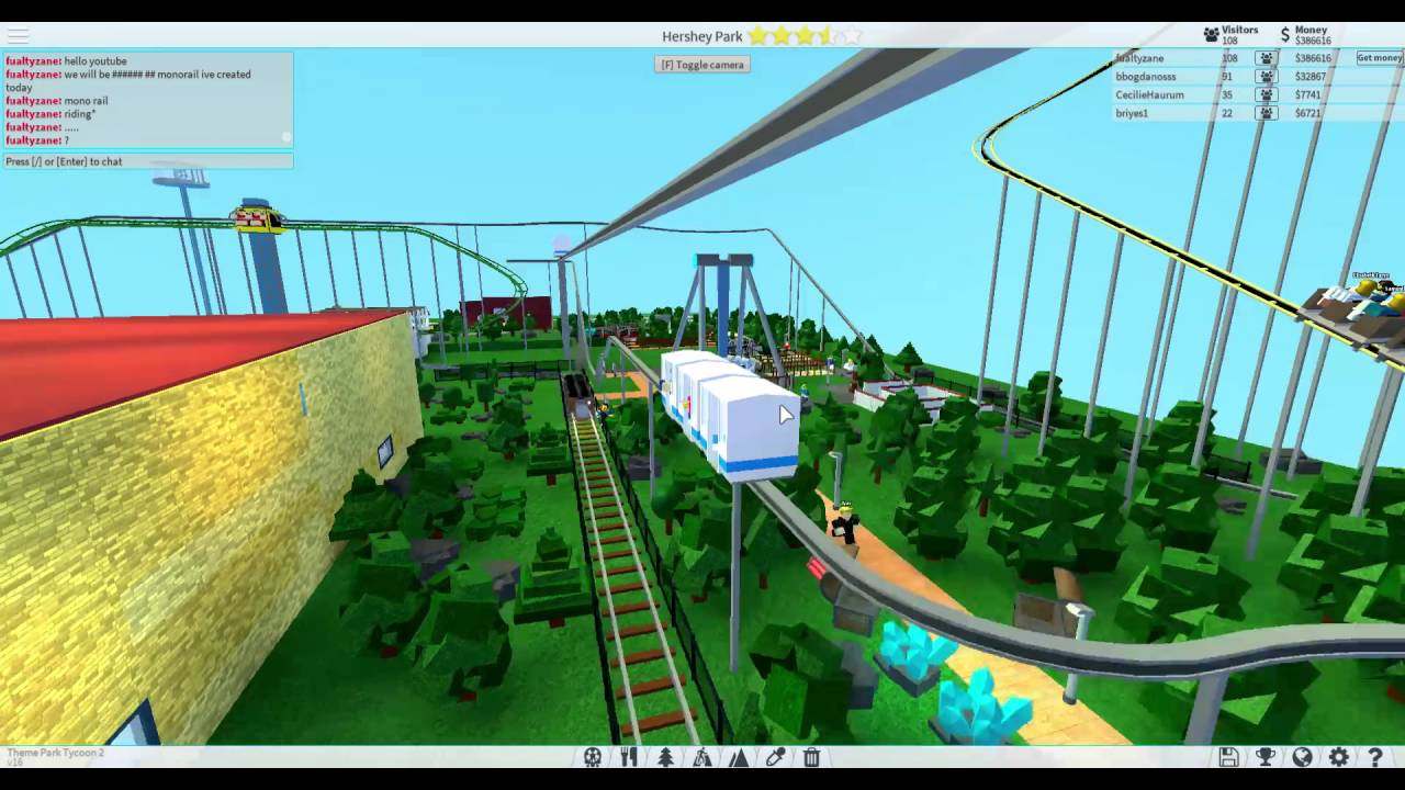 Youtube Videos Jelly Roblox Theme Park Roblox Theme Park Tycoon 2 Monorail Tour And Ride Youtube