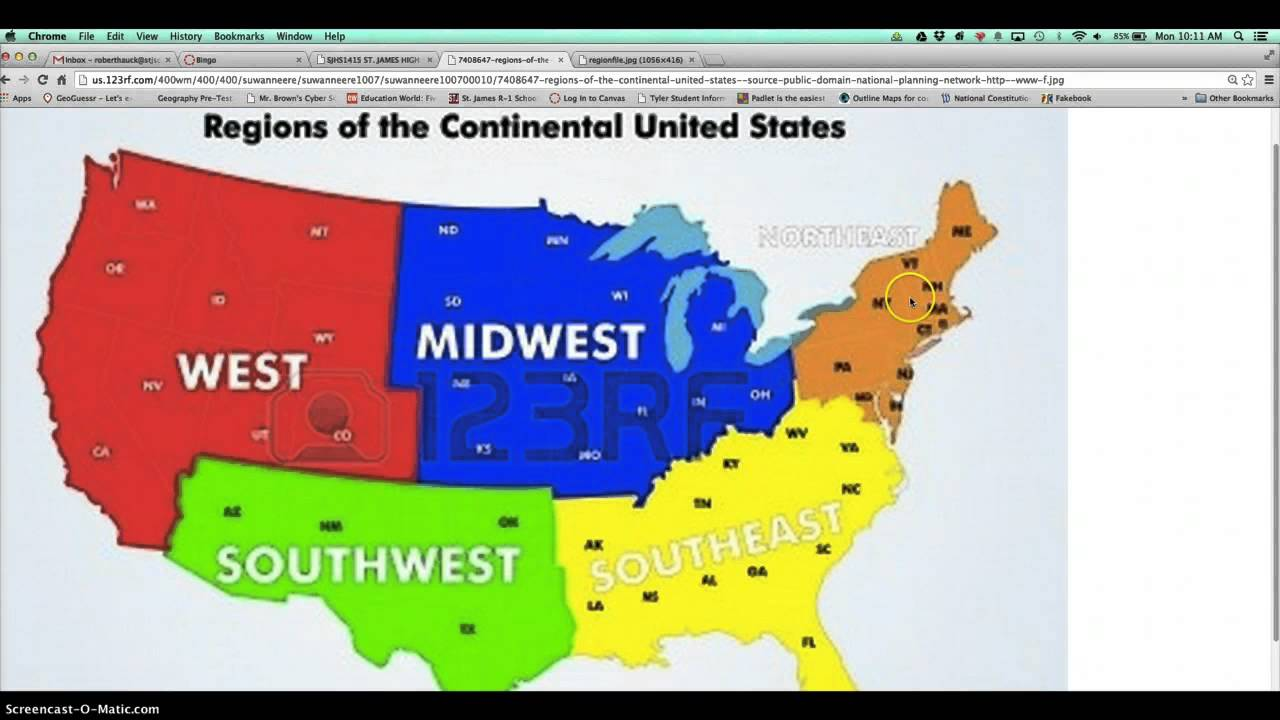 Regions Of The US YouTube - Map of the 5 regions of the us