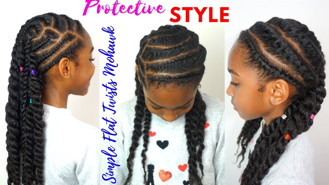 Kids Natural Hairstyles Simple Flat Twists Mohawk Tutorial Youtube