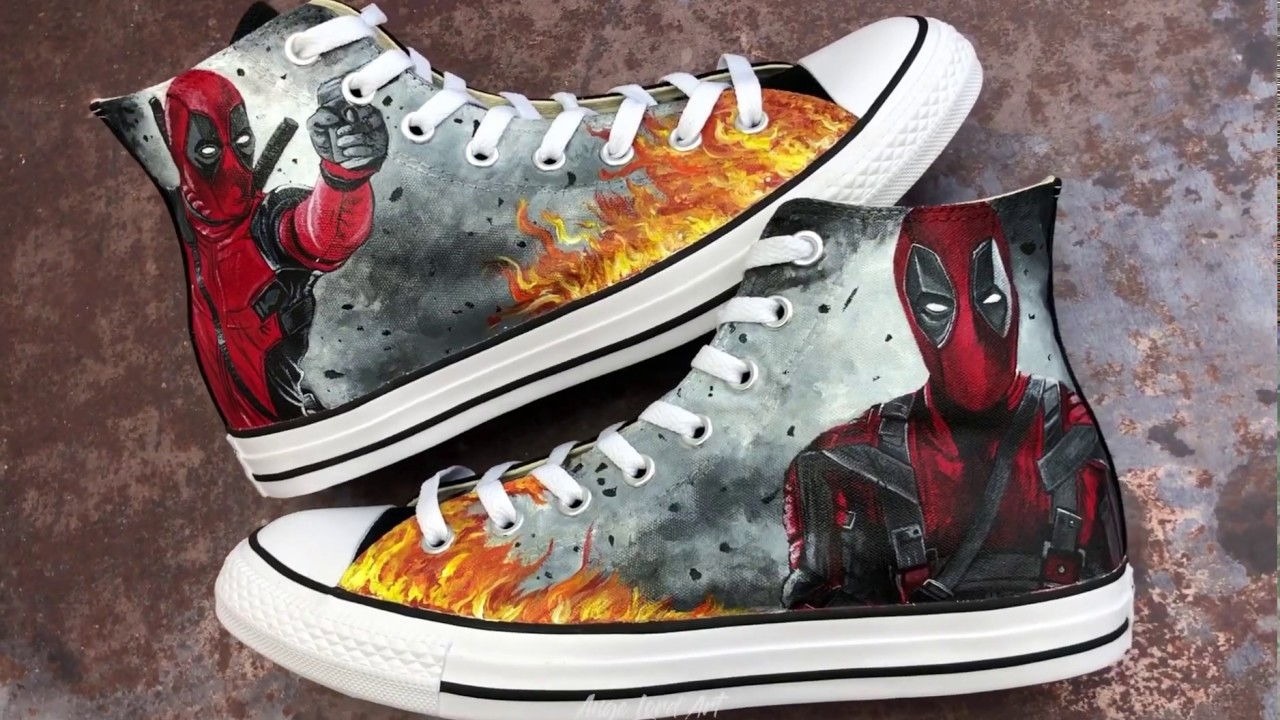 DEADPOOL Painted Converse | How To Paint Sneakers | Custom