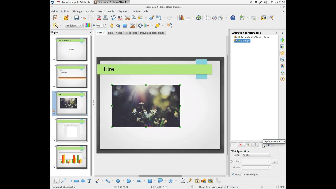 libre office impress gestion animation
