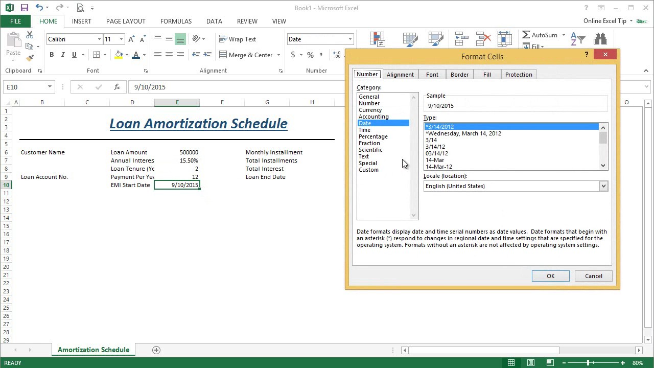 Part 1 - How To Generate A Loan Amortization Schedule Template In Excel