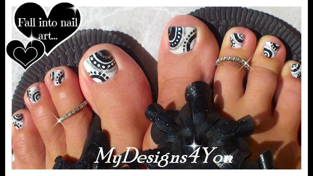 How To Toenail Art | Black and White Toenail Tutorial ♥ - YouTube