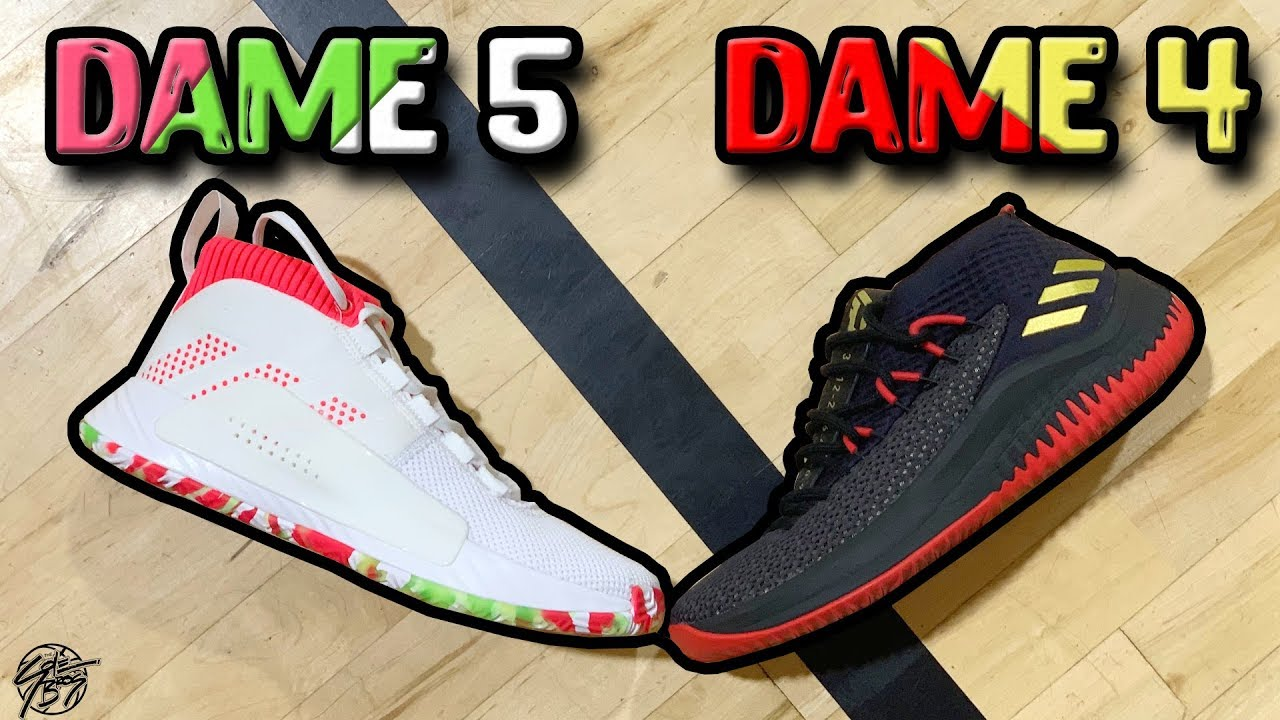 Adidas Dame 5   Dame 4 Comparison! (Damian Lillard) - YouTube 3359a1128