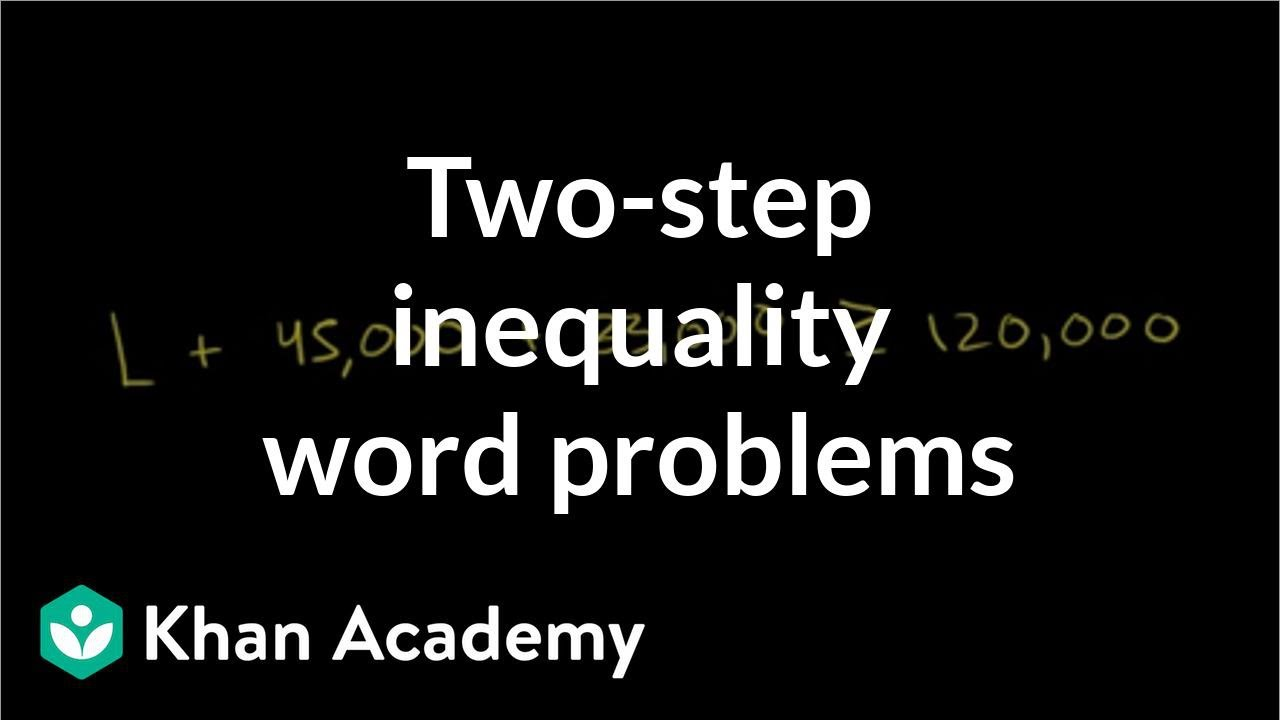 Constructing, solving two-step inequality example | Linear inequalities | Algebra I | Khan Academy
