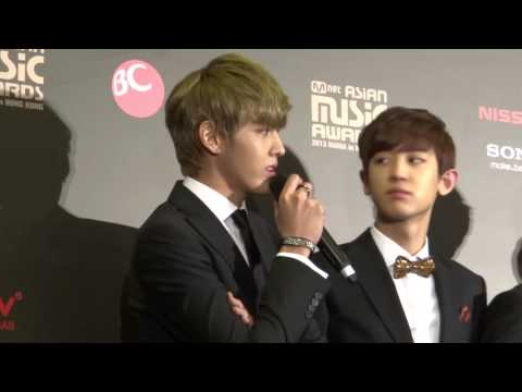 EXO Kris speaking Cantonese at 2013 Mnet Asian Music Awards Press Conference
