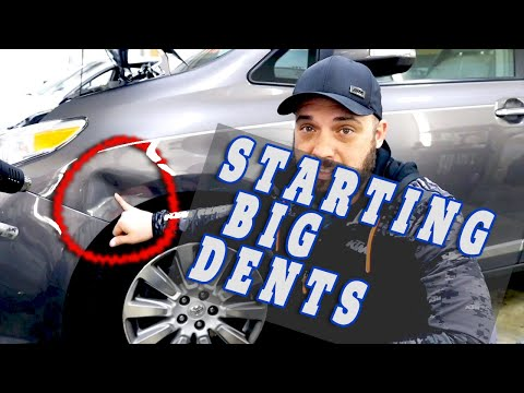 GNARLY Fender Dent Lesson - How To Start BIG Dents - PDR Tutorial