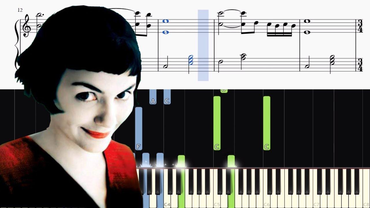 Yann Tiersen La Valse Damélie Version Piano Tutorial Sheets