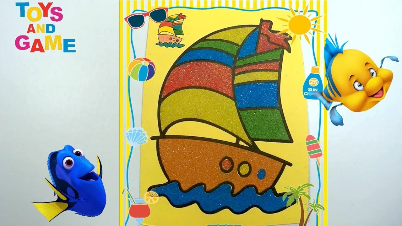 Kum Boyama Kayik Sand Painting Boat Learn Colors Youtube