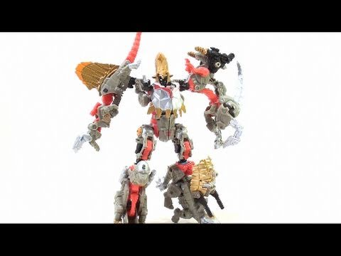 Video Review of the Transformers: Power Core Combiner Grimstone with Dinobots