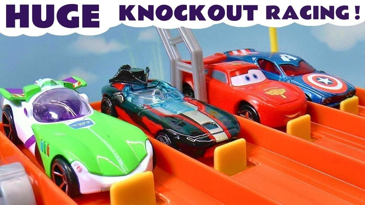 HUGE Toy Cars Knockout Race with Lightning McQueen and Funlings