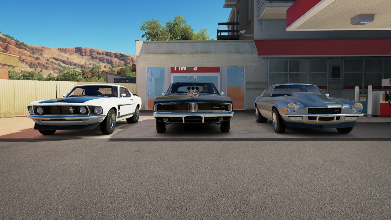 Camaro Vs Mustang >> Forza horizon 3 drag race boss mustang vs 69 charger vs 70 ...