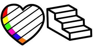Vẽ tranh và tô màu hình trái tim và hình cầu thang | Bé tập vẽ tranh tô màu trái tim và cầu thang