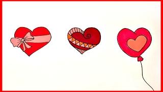 Как легко нарисовать сердечки(3 простых способа нарисовать сердечко ко дню влюбленных пошагово смотрите в этом видео ., 2017-02-01T13:34:31.000Z)