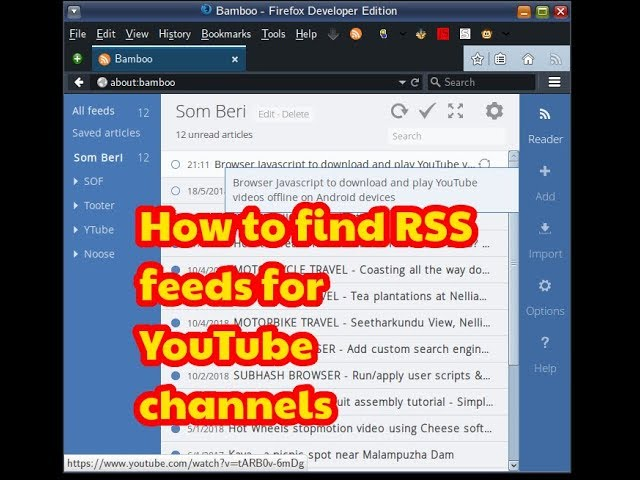 A GreaseMonkey script to generate RSS feed links for YouTube