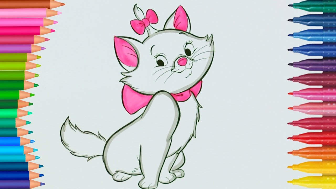 Kedi Marie Boyama Sayfası Ile Renkleri öğreniyorum çocuklar Için