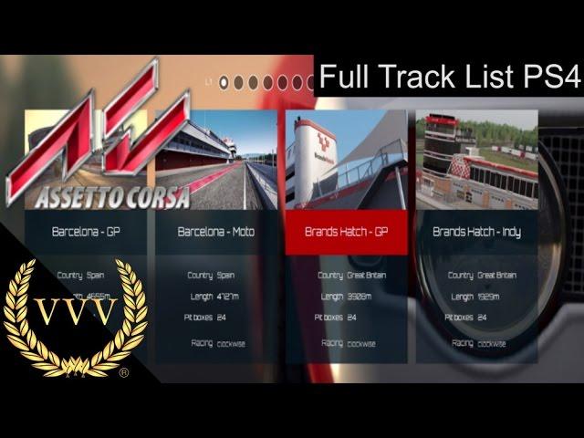 Assetto Corsa PS4 Full Track List