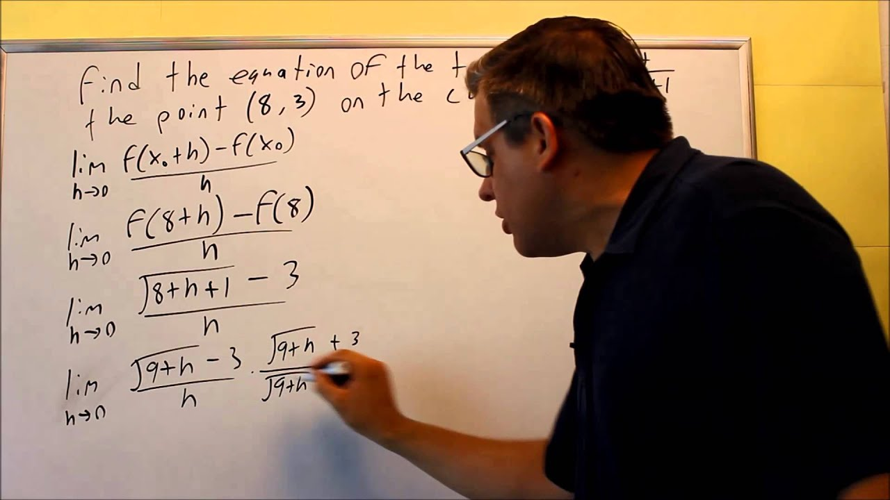 Limit Process: Slope Of The Tangent Line At A Point (square Root Function)