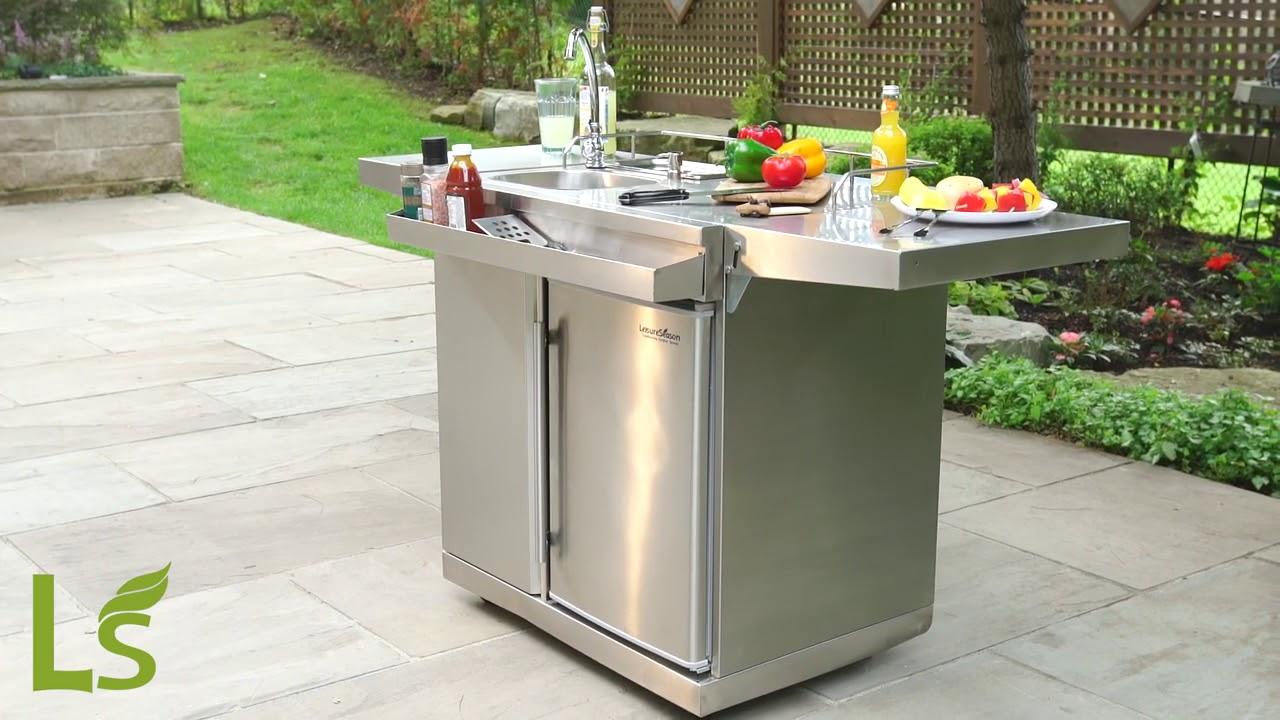 Leisure Season Outdoor Kitchen Cart & Beverage Center With Fridge & Sink  OKC158 ShedsDirect
