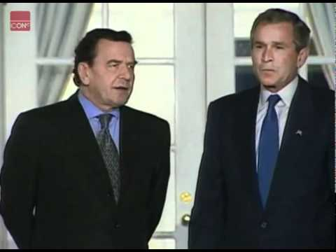 George W. Bush meets with German leader Gerhard Schroeder about the war in Afghanistan