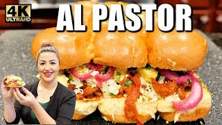 AL PASTOR MEXICAN STYLE SEASONED PORK SOFT SLIDERS WITH PICKLED PURPLE ONIONS