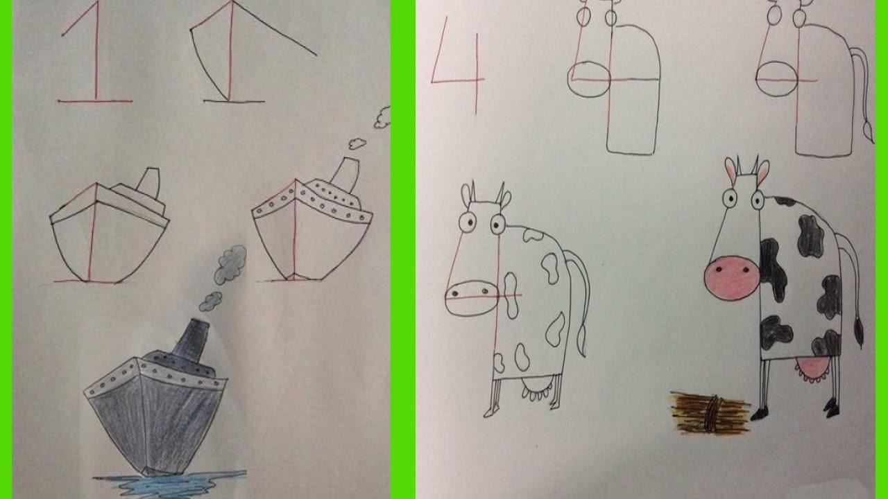 20 id es de dessins tr s dr les r aliser partir de chiffres youtube - Dessin de chiffre ...