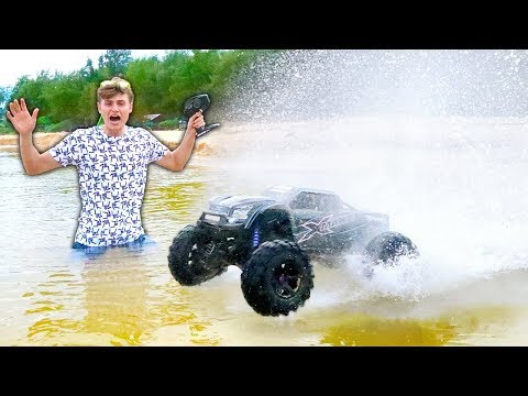 GIANT RC TRUCK DRIVES ON WATER!!