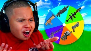Fortnite But One Gun *ONLY* CHALLENGE For My Little Brother! (MYSTERY WHEEL CHOOSES IT!)