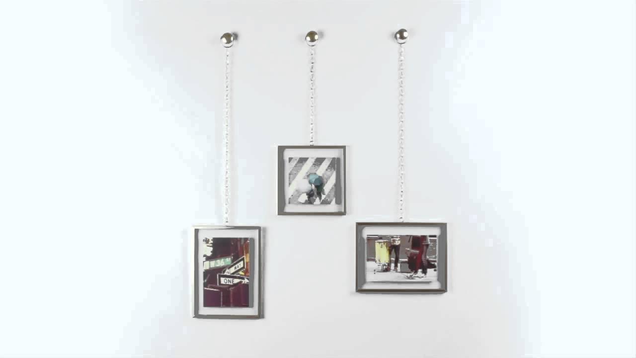 Umbra fotochain 3 cornici ottone porta foto da parete muro for Set cornici da parete