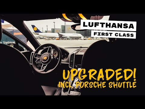 Porsche Shuttle to aircraft || Upgrade to Lufthansa FIRST || Flight SFO-FRA || First Class Lounge