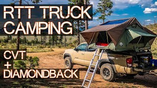 ULTIMATE Truck Roof Top Tent Camping - CVT on DiamondBack Cover Glory - Toyota Tacoma Overlanding thumbnail