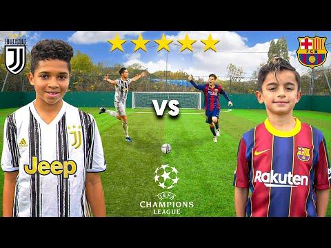 Kid MESSI vs Kid RONALDO (JUVENTUS vs BARCELONA CHAMPIONS LEAGUE 2020) - Football Competition