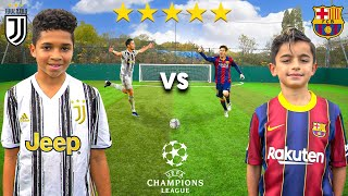 Kid MESSI vs Kid RONALDO (JUVENTUS vs BARCELONA CHAMPIONS LEAGUE 2020) - Football Competition