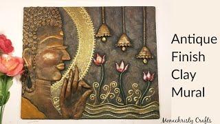 Antique Finish Clay Mural Buddha